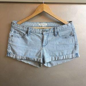 Low rise denim railroad stripe shorts bullhead